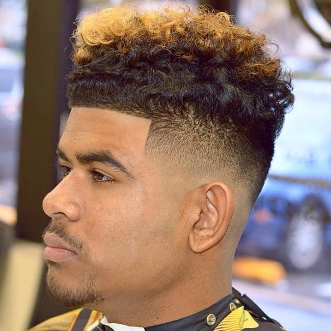High Top + Color + Skin fade - Men's Haircuts