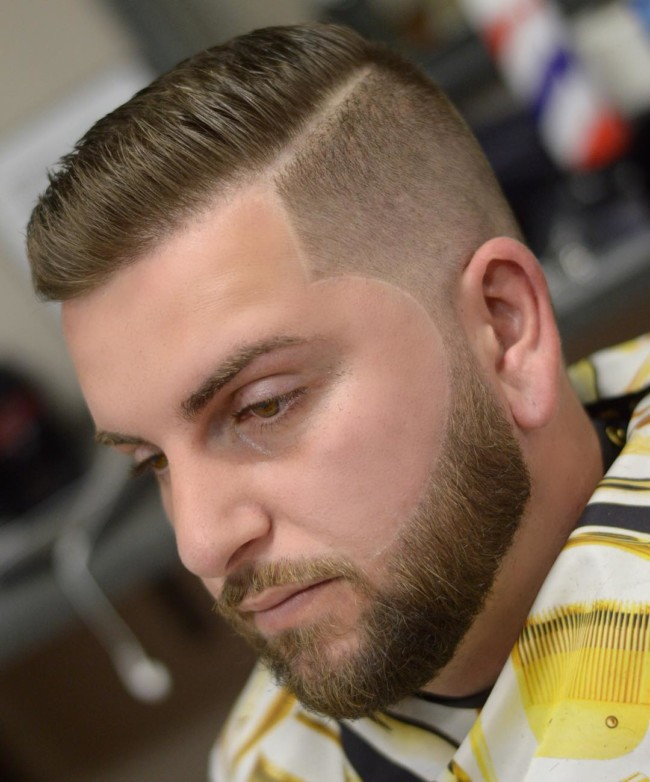 Side part Comb Over + High fade + Line up - Men's Haircuts