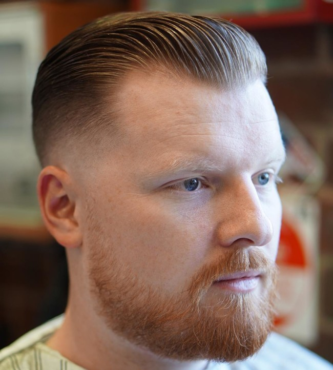 Slicked Back + Low Fade - Men's Haircuts