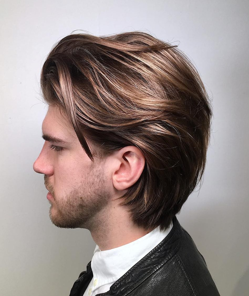 Mid length hairstyle + natural beige highlights + Tad darker root - Men's Haircuts