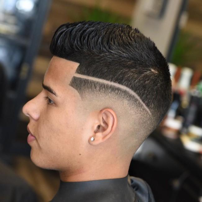 Short Quiff + Hard Part + Low Fade - Men's Haircuts