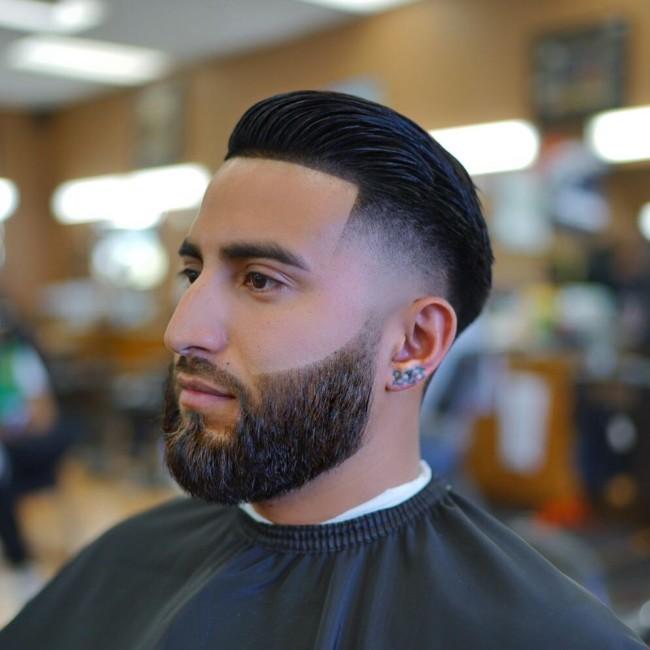Slicked back + High Fade - Men's Haircuts
