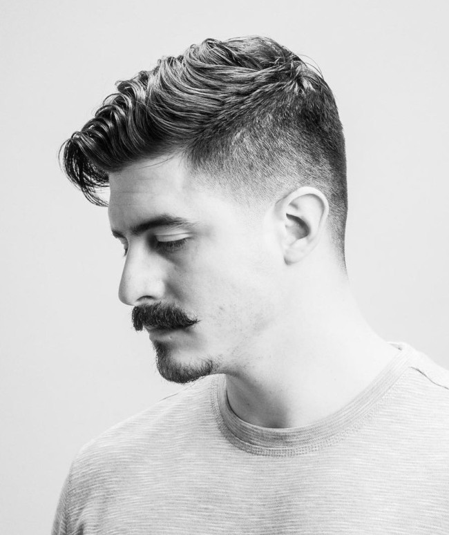 Long Comb Over + Mustache - Men's Haircuts