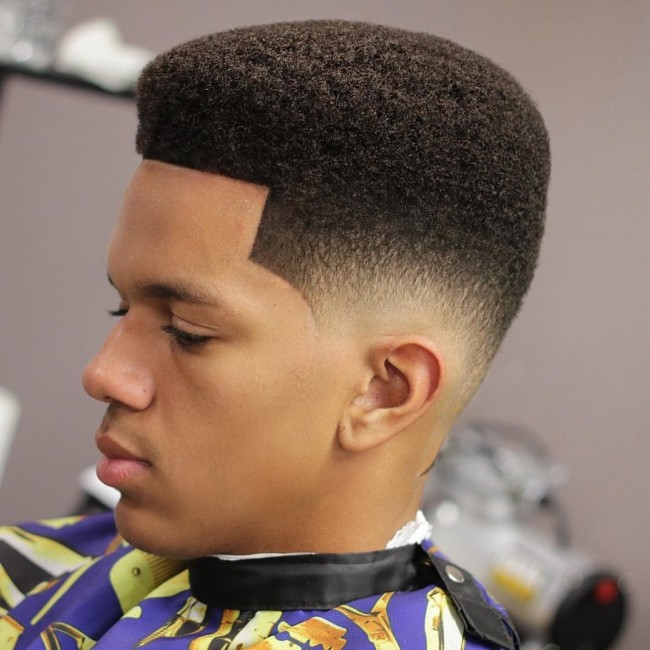 Short Afro + Burst Fade - Men's Haircuts