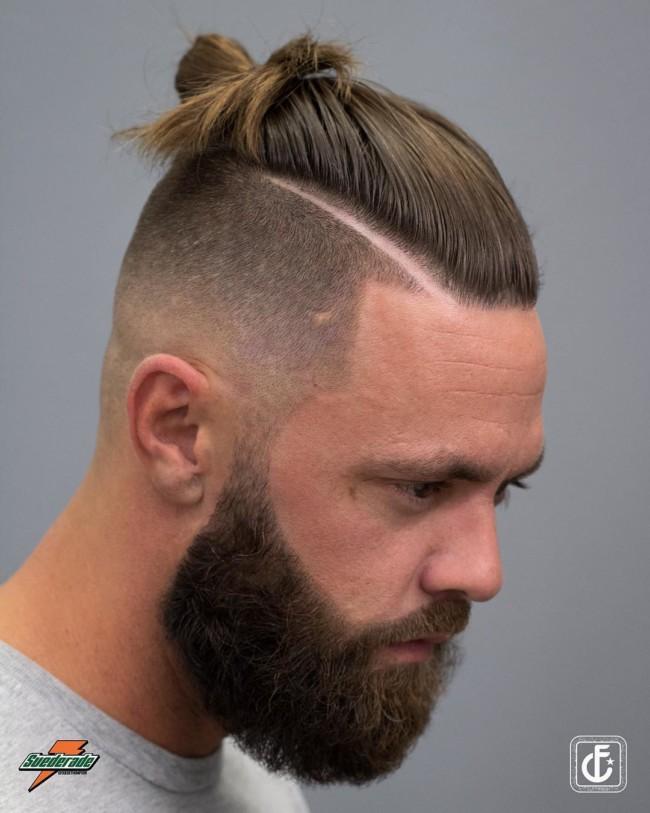 Man Bun + Hard Part - Men's Haircuts