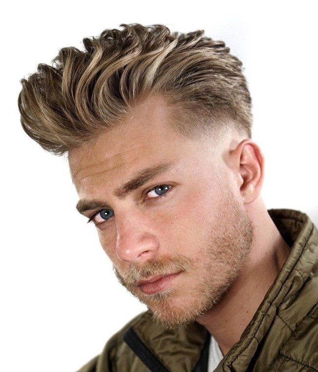 Brushed Back Textured Hair + Low Fade - Men's Haircuts