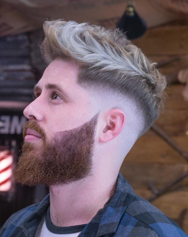 Quiff + Color + Disconnected Beard - Men's Haircuts