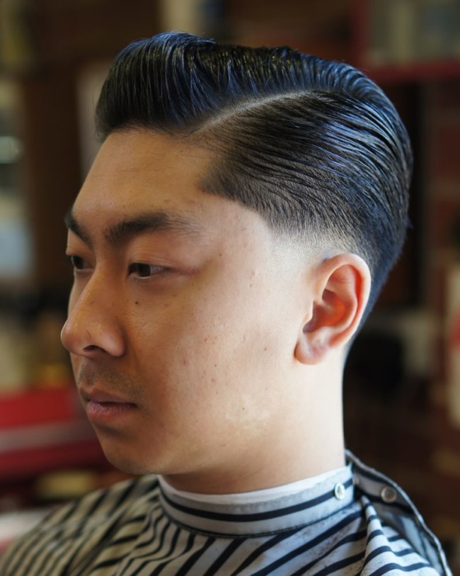 Slicked back + Side Part - men's Haircuts