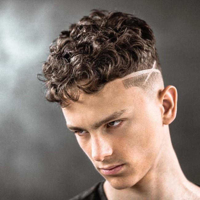 Crop + Curly hair + Creative Hard part - Men's Haircuts