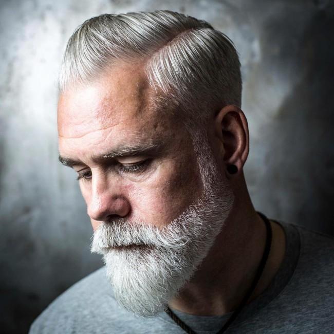 Side Part Pompadour + Beard - Men's Haircuts