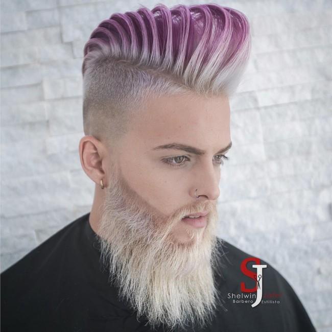 High Textured Pompadour + Color + Full beard - Men's Haircuts