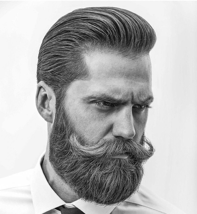 Pompadour +Full Beard + Long Mustache - Men's Haircuts
