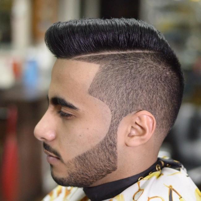 Disconnected Swept Pompadour + Line up - Men's Haircuts