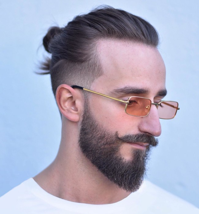Man Bun + Beard + Musctache - Men's Haircuts