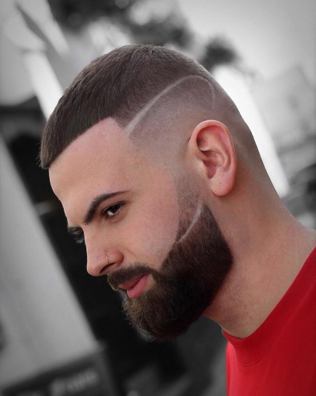 Buzz Cut + High fade + Creative Hard part + Beard - Men's Haircuts