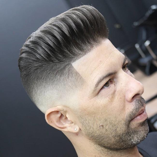 Textured Pompadour + High Fade - Men's Haircuts