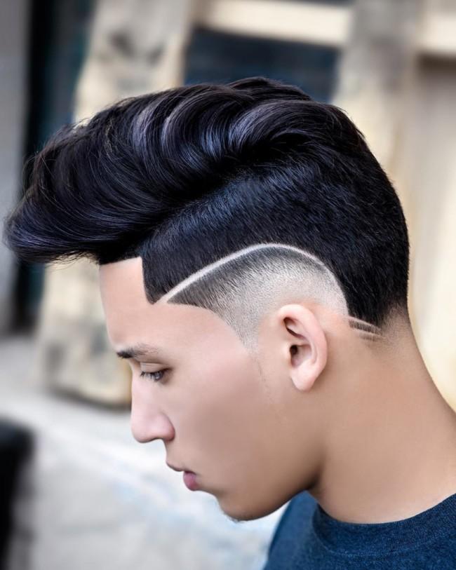 Disconnected Pompadour + Creative Hi-lo Fade - Men's Haircuts