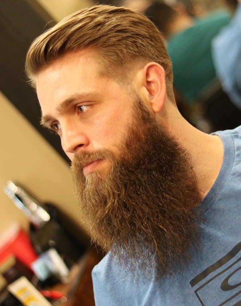 Brushed Back + Full Beard - Men's Haircuts