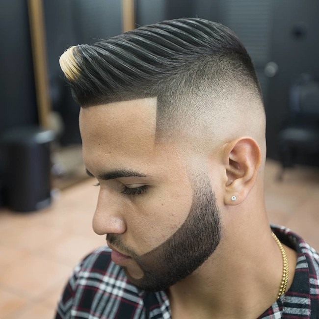 Comb Over Pompadour + High Skin Fade - Men's Haircuts