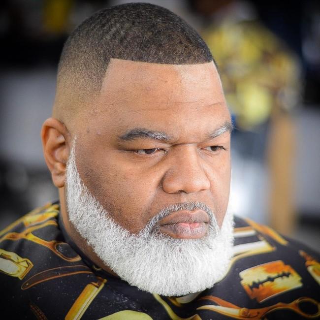 Buzz Cut + Skin fade + Disconnected White beard - Men's Haircuts