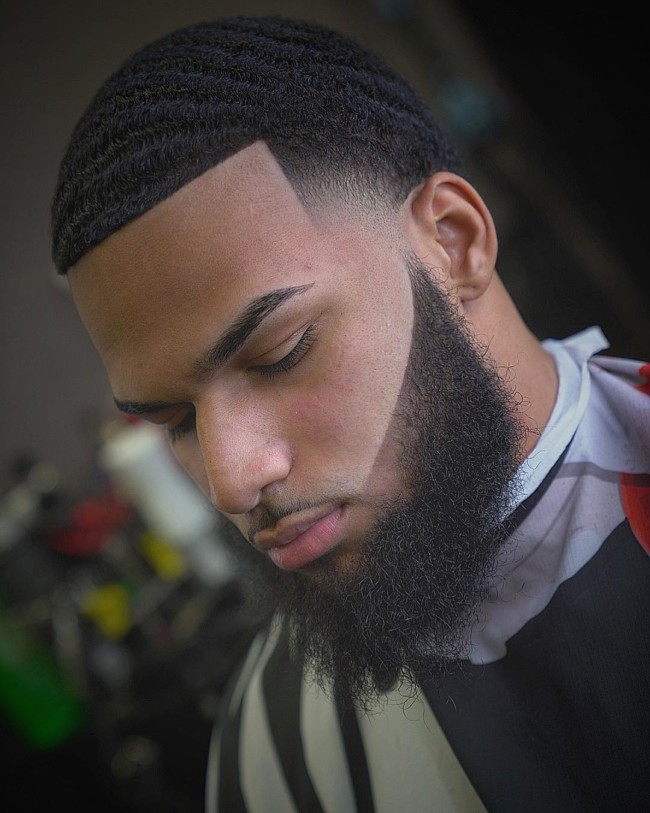 Waves + Temple Fade + Disconnected beard - Men's Haircuts