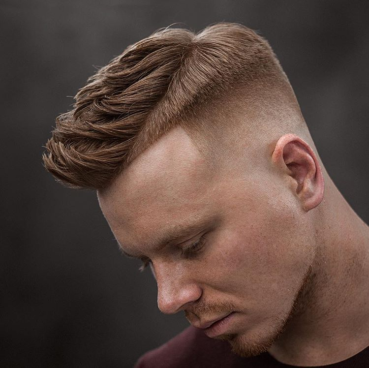 Textured Side Part Quiff + High Fade - Men's Haircuts